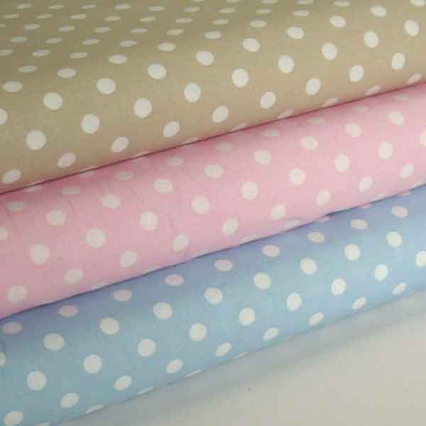Beige Polka Dot Cotton Fabric, White on Natural Beige Polka Dot Fabric - Fabric and Ribbon