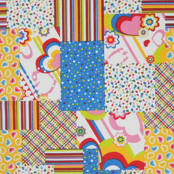 Multi-coloured Patchwork Fabric, Bright Patchwork Patterned Pure Cotton Fabric