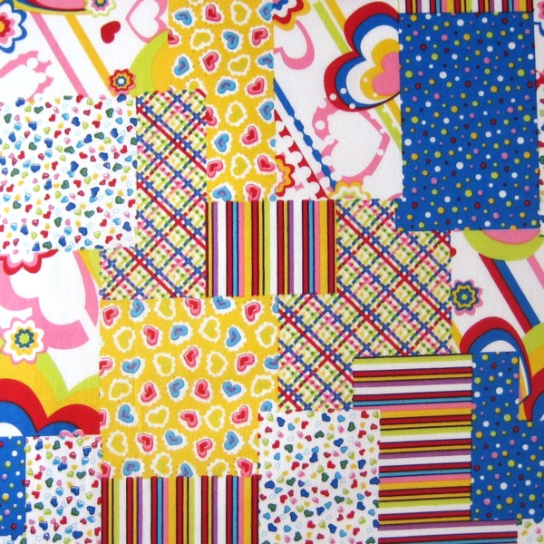 Multi-coloured Patchwork Fabric, Bright Patchwork Patterned Pure Cotton Fabric - Fabric and Ribbon