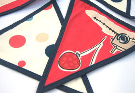 Red Boys' Toys Bunting Luxury Bunting, Handmade in Pure Cotton with Gingham Drawstring Bag