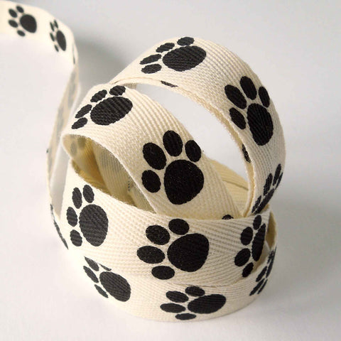 15 mm Black Paw Prints on Natural Cotton Ribbon
