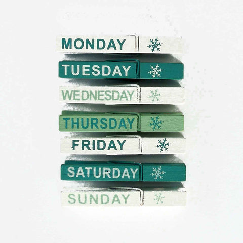 Wooden Days of Week Pegs, 7 Green and White Painted Craft Pegs for Daily and Weekly Planning - Fabric and Ribbon