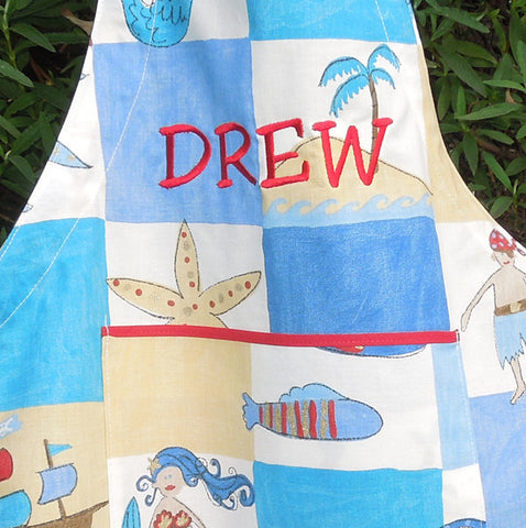 Toddler's Personalised Treasure Island Apron with Pocket, Handmade in Cotton,, Ages 2 - 6 yrs - Fabric and Ribbon
