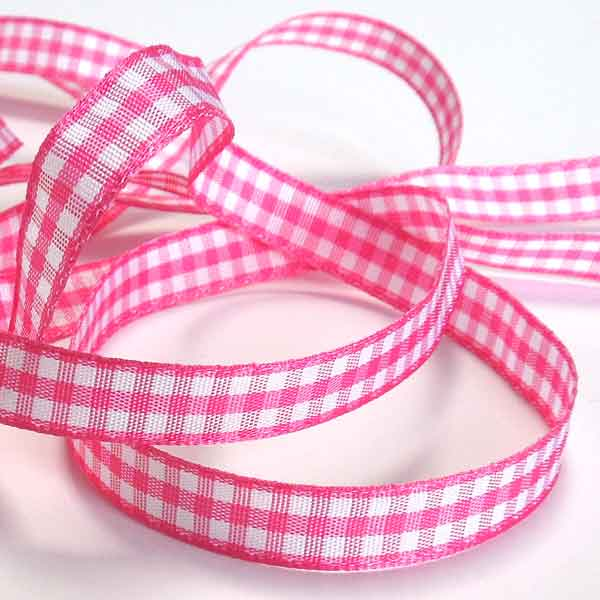 Shocking Pink  Gingham Woven Ribbon 5 mm, 10 mm, 15 mm width, Bright Pink and White Checked Ribbon