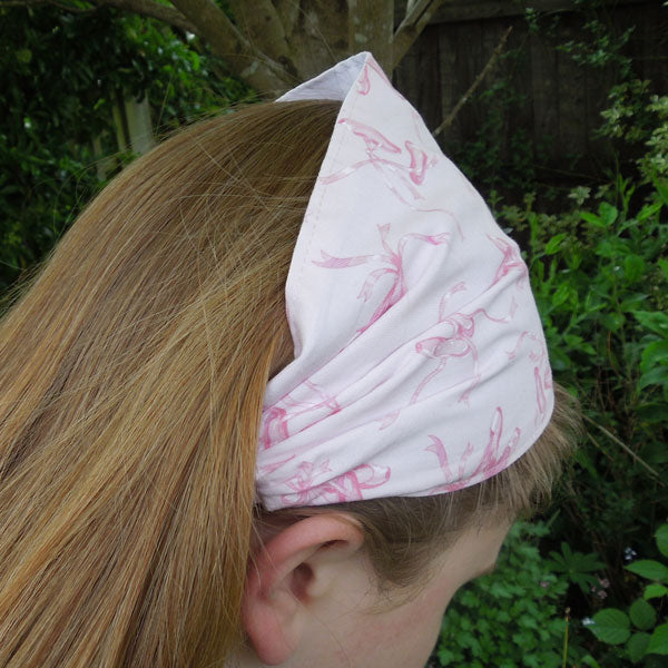 Girl's Pink Ballet Shoes Cotton Scrunchie, Hairband and Bandanna plus Organza Gift Bag, Handmade in Pure Cotton - Fabric and Ribbon
