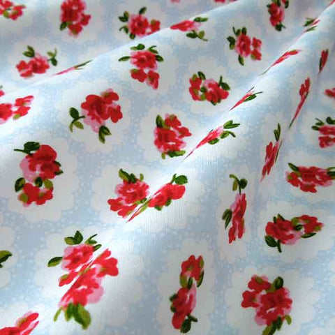 Blue and Red Rose Cotton Fabric by Rose & Hubble, Red Roses on Pale Blue and White Retro Style Fabric,