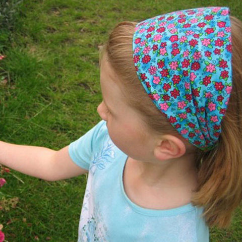 Pink Daisies on Blue Fabric Hair Accessories
