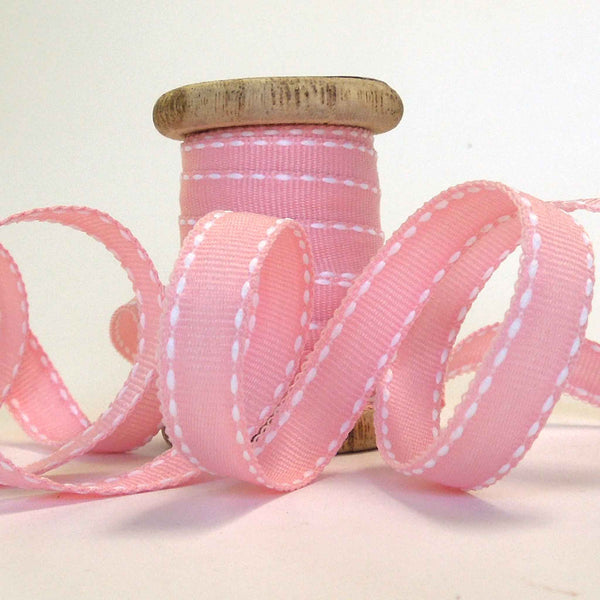 10 mm Pink Stitched Ribbon on Wooden Bobbin