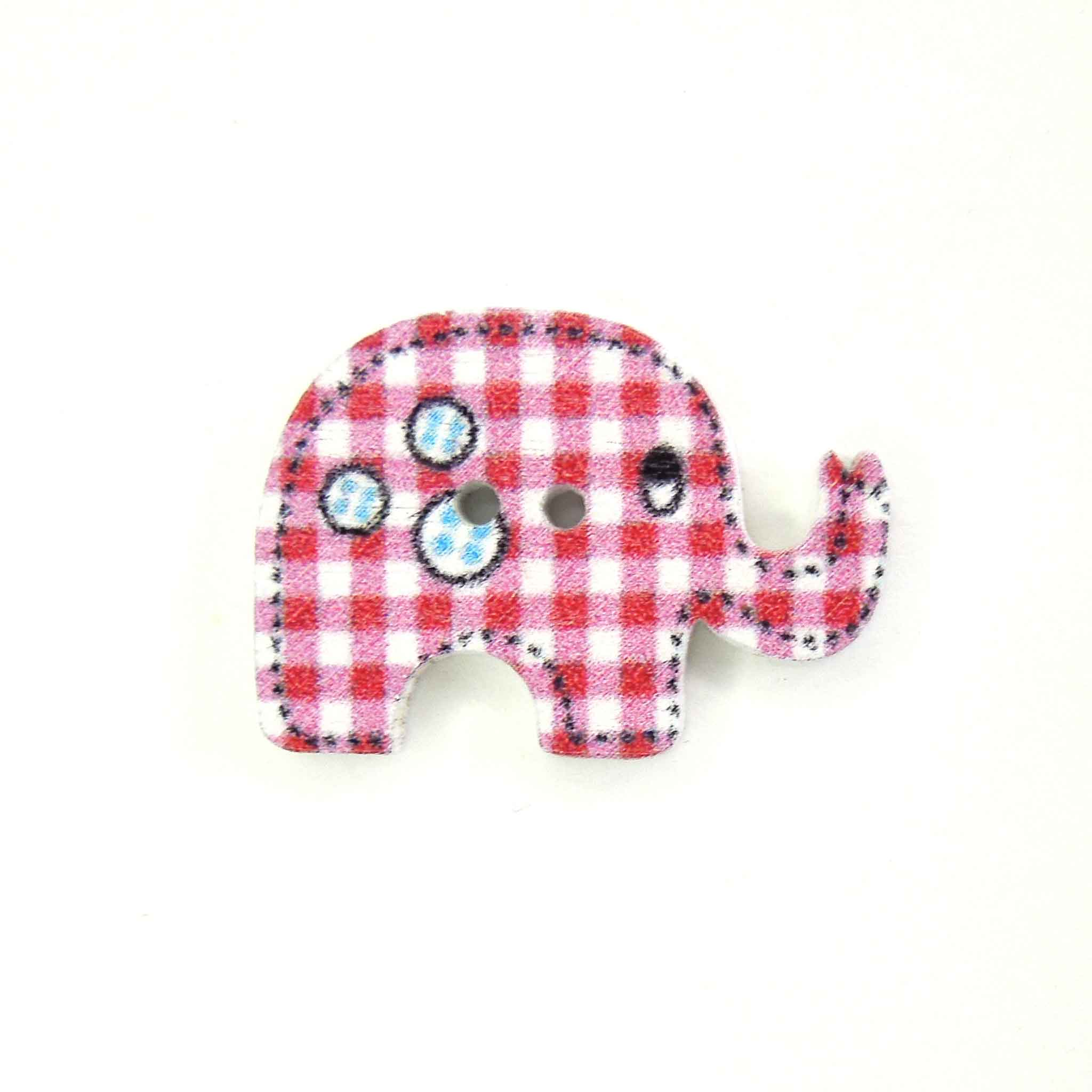 Kid's Pink Elephant Wood Buttons, 2 Holes, Pack of 6 Buttons