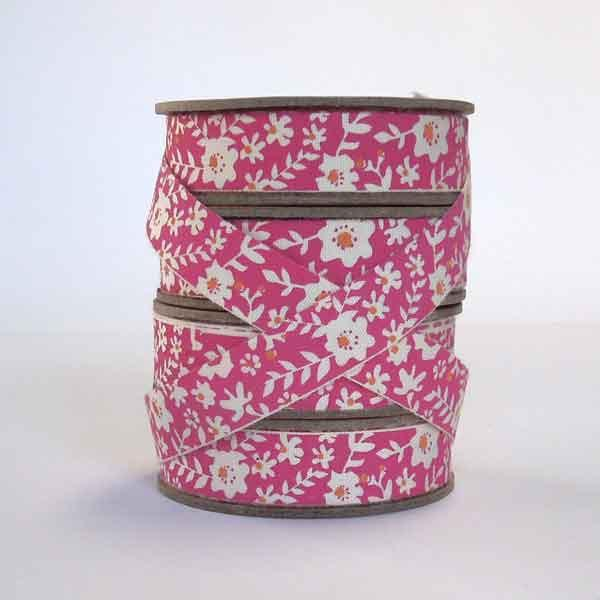 15 mm Pink Flower Cotton Ribbon, 5/8 inch Bright Pink and Orange Floral Cotton Tape