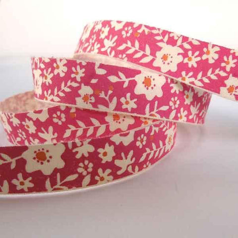 15 mm Pink Flower Cotton Ribbon, 5/8 inch Bright Pink and Orange Floral Cotton Tape - Fabric and Ribbon