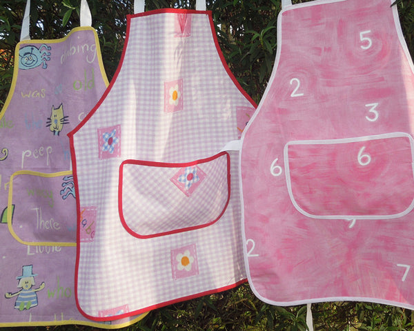 Toddler's Pink Gingham and Hearts Personalised Apron with Pocket, Handmade, Ages 2 - 6 yrs