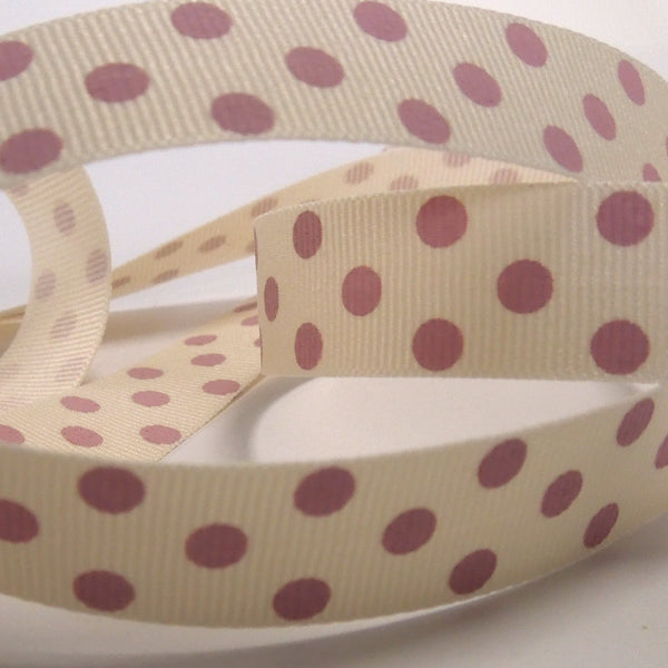15 mm Pink on Natural Spotty Grosgrain Ribbon