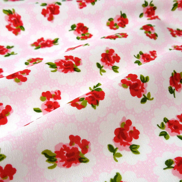 Pink and Red Rose Cotton Fabric by Rose & Hubble, Red Flowers on Pink and White Fabric
