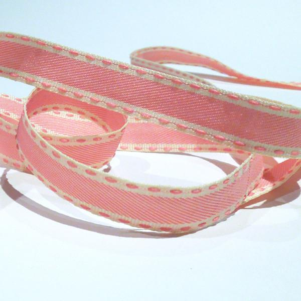 Pink Stitched 15mm Fabric Ribbon