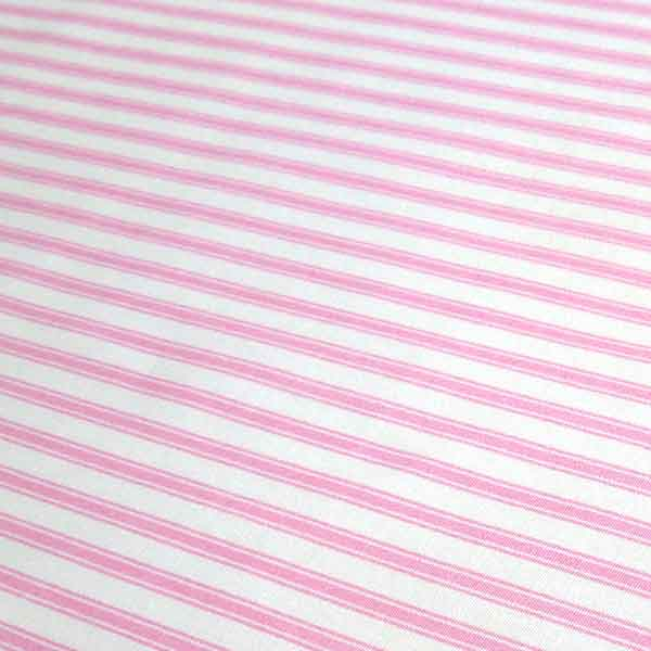 Pink Ticking Stripe Cotton Fabric by Rose & Hubble