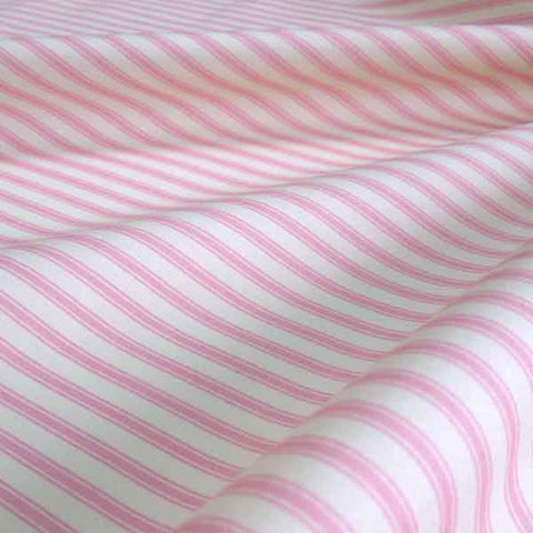 Pink Ticking Stripe Fabric by Rose & Hubble, Pale Pink and Cream Stripe Cotton Fabric