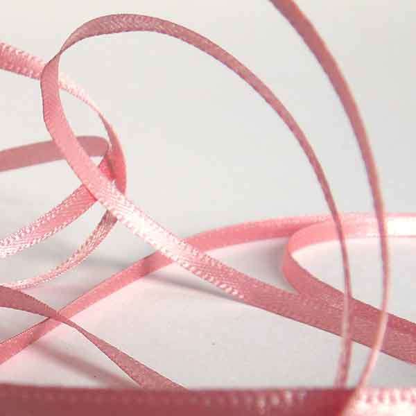 Silver Edged Satin Ribbon Pink Azalea by Berisfords, 3 mm, 7 mm width