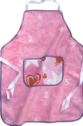 Older Girl's Personalised Apron, Pink Hearts and Numbers Kid's Apron with Pocket, Handmade in Pink Numbers Cotton, Ages 7 - 12 yrs