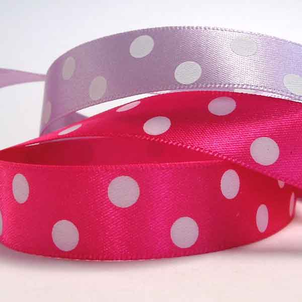 15 mm Shocking Pink and White Polka Dot Satin Ribbon