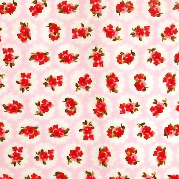 Pink and Red Rose Cotton Fabric by Rose & Hubble, Red Roses on Pink and White Retro Style Fabric