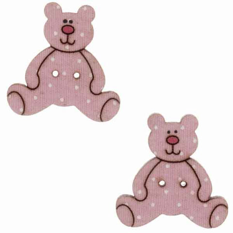 25 mm Pink Teddy Buttons,  Baby Girl Wooden Teddy Buttons, Pack of 2  Kid's Teddy Bear Craft Buttons