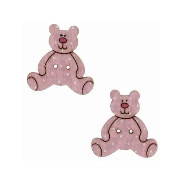 25 mm Pink Teddy Buttons,  Baby Girl Wooden Teddy Buttons, Pack of 2  Kid's Teddy Bear Craft Buttons - Fabric and Ribbon