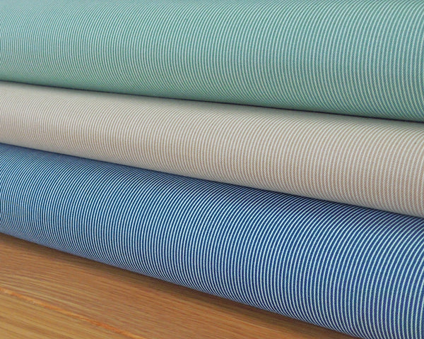Teal Narrow Stripe Cotton Fabric 6048/T by Andover Fabrics - Fabric and Ribbon
