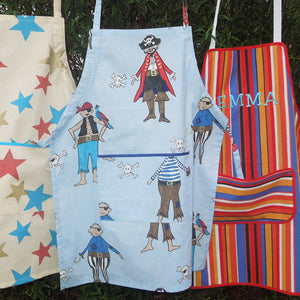 Older Child's Personalised Pirate Apron, Boy's Pirate Personalized Apron with Pocket, Blue Apron, Pure Cotton, Ages 7 - 12 yrs