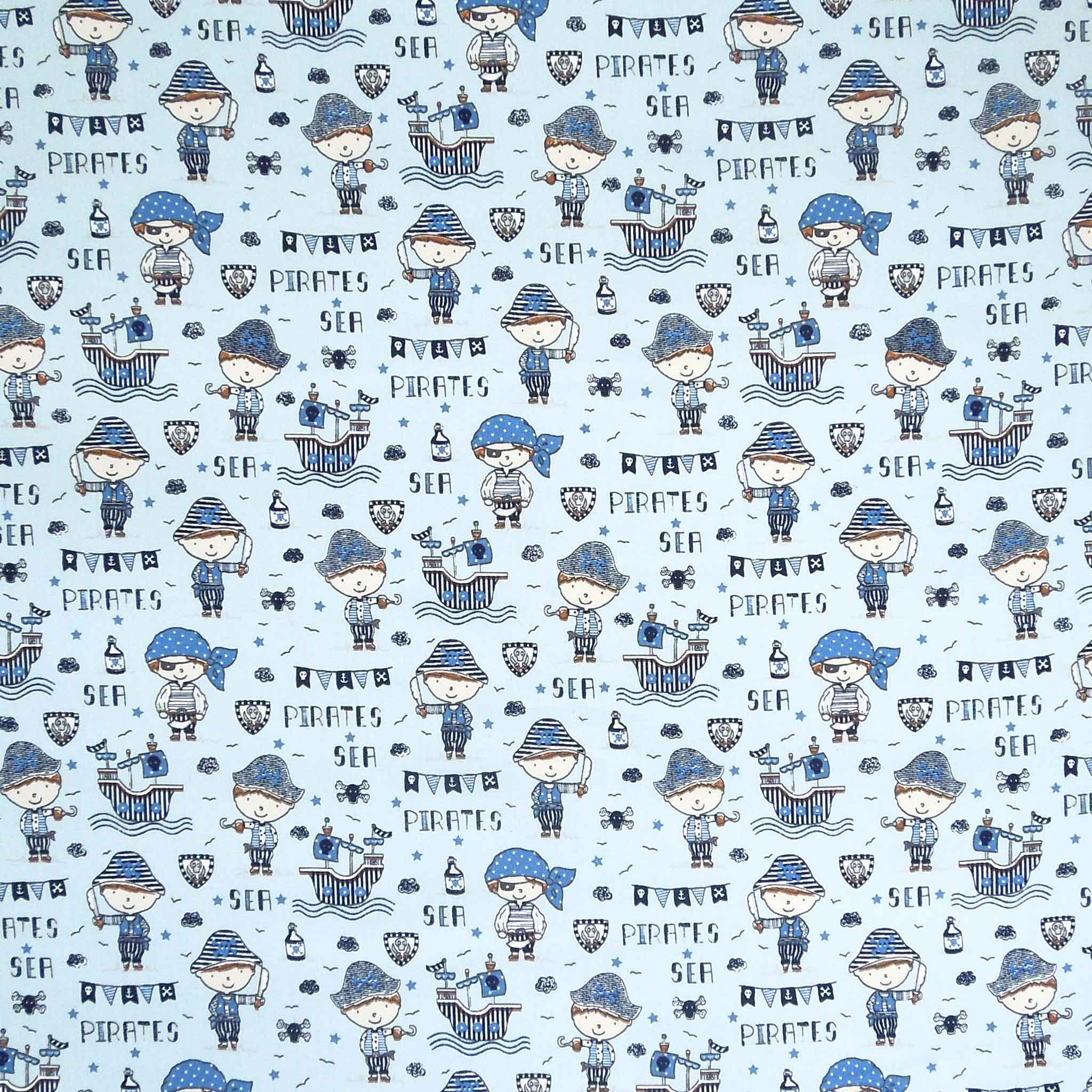Blue Sea Pirates Cotton Fabric, Kid's Pirates and Galleons Cotton Fabric for Sewing and Crafts - Fabric and Ribbon
