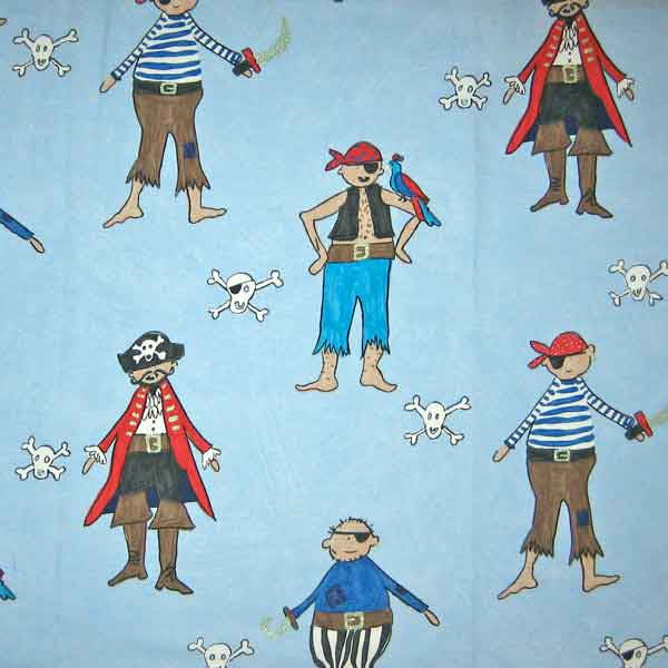 Blue Pirates Kid's Furnishing Fabric by Clarke and Clarke (Globaltex), All At Sea Collection - Fabric and Ribbon