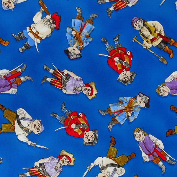 Kid's Pirates Fabric, Blue Pirates Fabric by Timeless Treasures, Children's Cotton Pirate Fabric