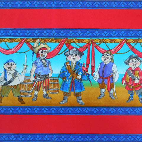 Kid's Blue Pirate Fabric,Boy's Pirates Ashore Cotton Fabric by Timeless Treasures