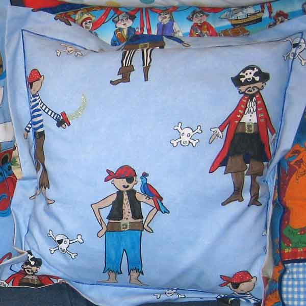 Children's Blue Pirates Cushion, Child's Pillow Handmade in a Blue Pirate Cotton, 21 inch x 21 inch, 53 cm x 53 cm