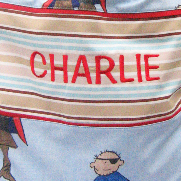 Child's Personalised Blue Pirates Toy Sack,  Kid's Reversible Blue Pirates Drawstring Storage Bag - Fabric and Ribbon