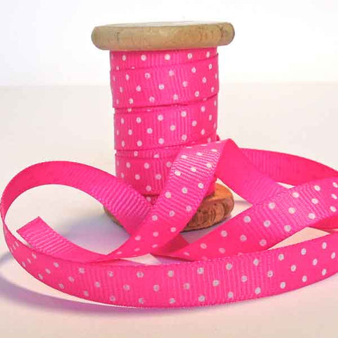 10 mm Pink Polka Dot Ribbon on Wooden Bobbin, 3 Metres Bright Pink Spotty Grosgrain on Wooden Bobbin