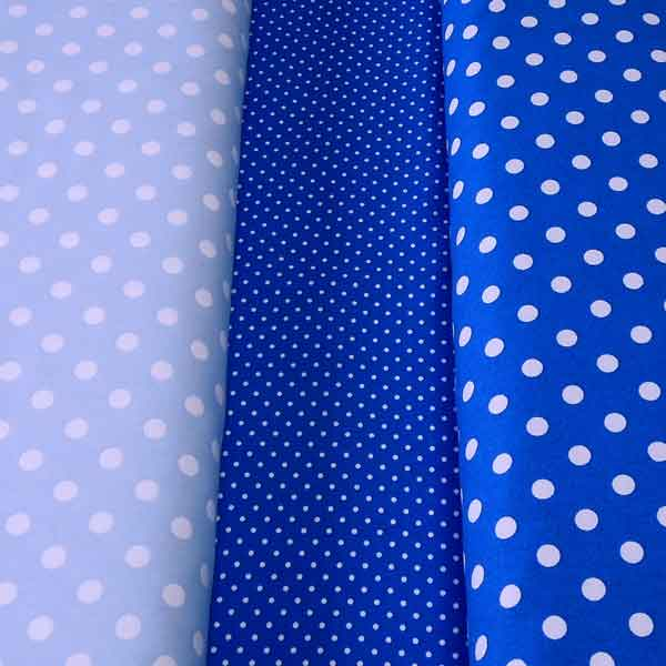 Powder Blue Polka Dot Fabric, Light Blue and White Polka Dot Cotton Fabric, Baby Blue Spotty Cotton Fabric
