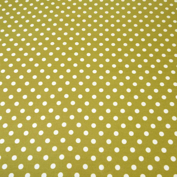 Olive Green Polka Dot Cotton Fabric by Rose & Hubble - Fabric and Ribbon