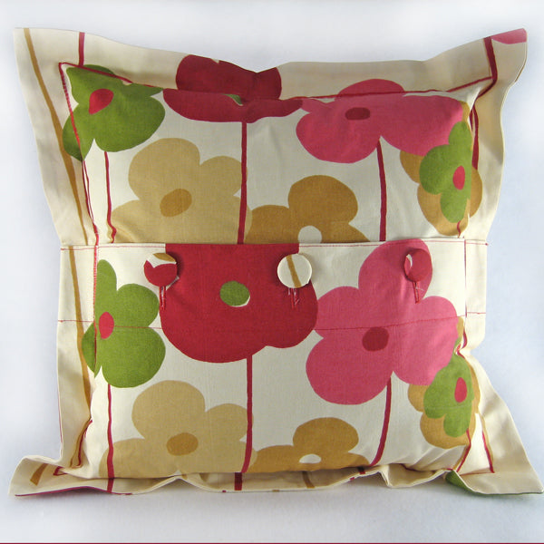 Red Poppy Cushion, Handmade in a Pure Cotton Flower Print with Satin Stitch embroidery, 21 inch x 21 inch, 53 cm x 53 cm