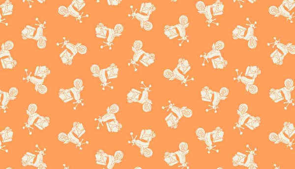 Orange Scooters Cotton Fabric by Makower, 1655/N, from their Vacation Collection