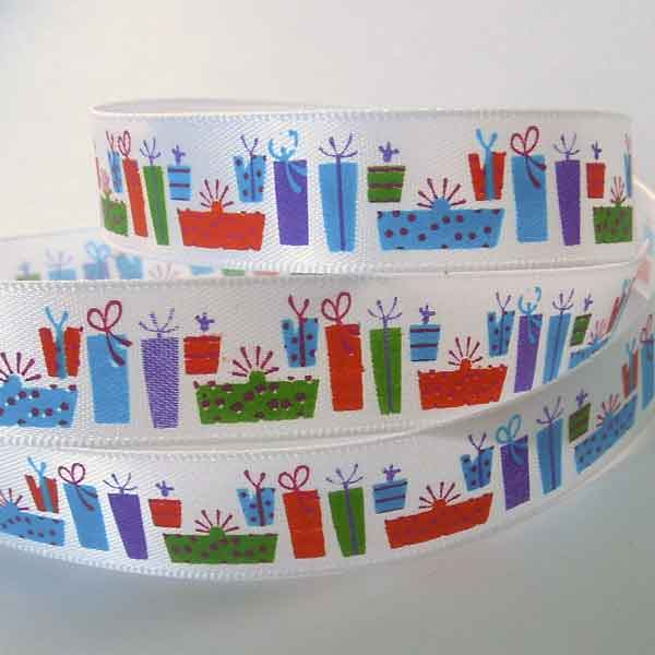 15 mm Birthday Presents White Ribbon, 5/8 inch Kid's Birthday Party Satin Ribbon