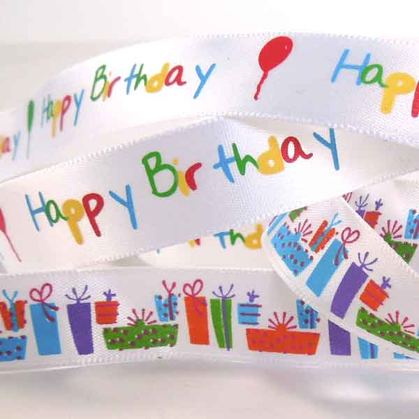 15 mm Birthday Presents White Ribbon, 5/8 inch Kid's Birthday Party Satin Ribbon - Fabric and Ribbon