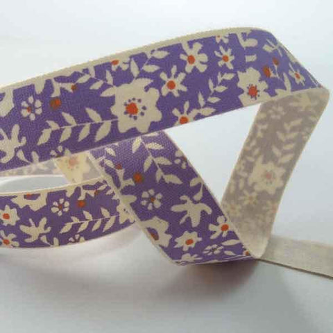 15 mm Lilac Flower Cotton Ribbon, 5/8 inch Purple and Orange Floral Cotton Tape
