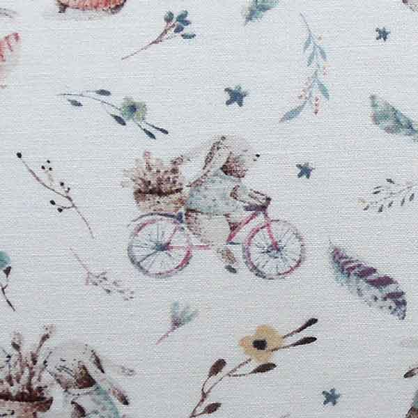 Ivory Rabbits on Bicycles Cotton Fabric by John Louden, Rabbits, Bicycles and Flowers Korean Cotton Fabric - Fabric and Ribbon