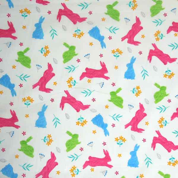 Coloured Rabbits Cotton Fabric by Rose & Hubble, Kid's Multicoloured Bunny Rabbits on White Fabric - Fabric and Ribbon