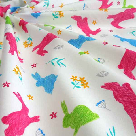 Coloured Rabbits Cotton Fabric by Rose & Hubble, Kid's Multicoloured Bunny Rabbits on White Fabric