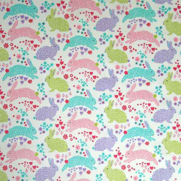 Rabbits and Flowers Cotton Fabric by Rose & Hubble, Kid's Pastel Floral Bunny Rabbits on White Poplin - Fabric and Ribbon