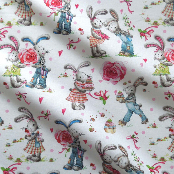 Rabbits and Roses on White Cotton Fabric by John Louden, Rabbits, Hearts and Cupcakes Retro Syle Fabric - Fabric and Ribbon
