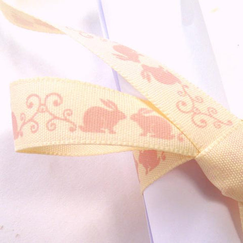 15 mm Baby Pink Bunny Rabbit Ribbon, 5/8 inch Girl's Pale Pink Little Rabbits on Cream Ribbon