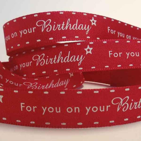 15 mm Red Birthday Ribbon by Berisfords, 5/8 inch Red Birthday and Party Fabric Ribbon
